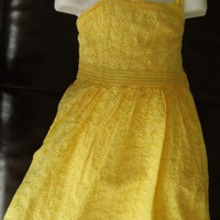 GIRLS YELLOW CHAPS SPRING SUMMER EYELET SPAGHETTI STRAP DRESS SUNDRESS SIZE 6X