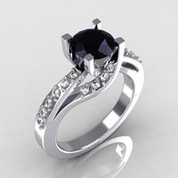 Modern Bridal 14K White Gold 1.0 Carat Black Diamond Solitaire Ring R145-14KWGDBD