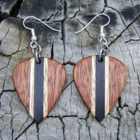 Multi-Wood Earrings - Handmade with Texas Ebony - Avodire - Sapele and Red Oak - Guitar Pick Shaped
