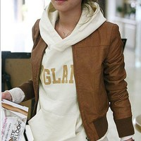 Korean Band Lap Faux Leather Short Jacket Brown Womens Coat PU Outwear Tops