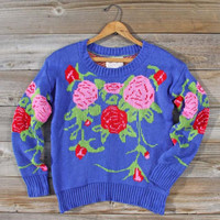 Knitted Bohemia Sweater in Blue, Sweet Bohemian Sweaters