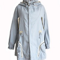 Light Blue Cotton Coat with Detachable Hood and Shearling
