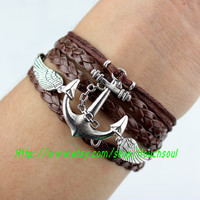 karma-The wings of the angel anchor bracelet,Special bracelets, dark brown leather, wax wire bracelet, best gift