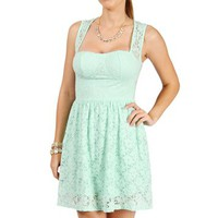 Mint Sleeveless Lace Short Dress