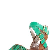 Athena514a Crisscross Ankle Tribal Sandals GREEN