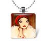 Gothic mysterious woman fairy tale glass necklace keychain