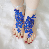 beach shoes, beach fashion, bridal sandals, navy blue lariat sandals, wedding bridal, barefoot sandles, shoe accessory, wedding shoes