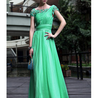 2012 New In Stock Dresses Green A-line Round Neckline Floor Length Appliques 30D Tencel Chiffon Evening Dress-SinoSpecial.com