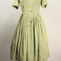 50's Green Gingham Day Dress