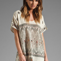 Free People Byzantine Mesh Printed Tunic in Antique Ivory from REVOLVEclothing.com