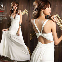Womens Deep V-neck Strap Backless Beading Full Long Evening Cocktail Dress White