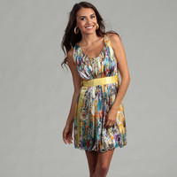 Issue New York Women's Printed Silk Bubble Hem Dress | Overstock.com