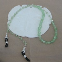 Frosted Green Glass Bead Eyeglass Holder | pattysdreamdesigns - Accessories on ArtFire
