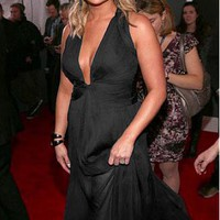 [141.99] Miranda Lambert Silk-like Chiffon A-line Halter Prom Dress 2013 Grammy Awards - Dressilyme.com