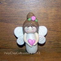 Angel - Pink Heart - Polymer Clay - Keepsake - Brooch Pin