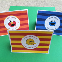 Sesame Street Note Cards, Thank You Notes, Stationery Set of 10 Printed Cards