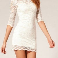 White Sexy Hollow Lace Dress