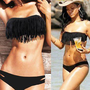 Black 2 PCS Tassel Padded Bikini