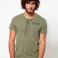 G Star T-Shirt Aero Grandad Collar at asos.com