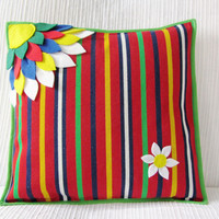 Flower Cushion Cover - Throw Pillow Cover - Decorative Pillow Case - Cushion Cover - Handmade Cushion - Colorful Pillow  &quot;O Olhar&quot;