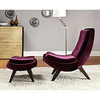 Albury Purple Velvet Chair and Ottoman Set | Overstock.com