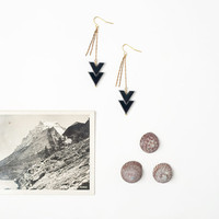Black Onyx Arrow Tribal Inspired Earrings with by DeuceFashion
