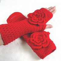 Stunning Crochet Red Rose Fingerless Gloves