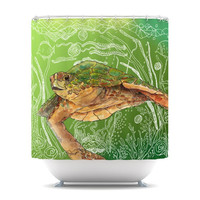 "Catherine Holcombe ""Shelley Green Sea"" Shower Curtain 
