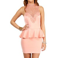 Peach Crochet Neck Peplum Dress