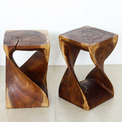 Monkey Pod Wood Walnut Oil-finished Twist Stool (Thailand) | Overstock.com