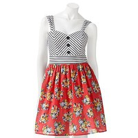 City Triangles Floral Striped Sleeveless Fit and Flare Dress - Juniors