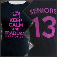 Senior Graduation T-Shirt -- Black -- Keep Calm and Graduate Class of 2013