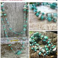 Spring Savings Sale Around the world in Turquoise with Roman glass, Coconut wood and precious metal clay trade beads  Necklace or wrap brac
