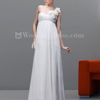 Empire Chiffon One-Shoulder Destination Bridal Gown with Flower