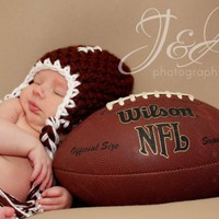 Crochet Baby Boy Football Earflap Beanie 3-6 Months | InHsTyme - Crochet on ArtFire