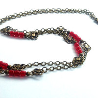 Boho Long Necklace - Bohemian Layering Chain in Red and Antiqued Brass