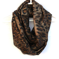 Infinity Scarf. Leopard Print Scarf. Circle Scarf. Women Accessoryies