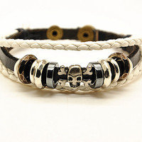Women's leather bracelet, skull head rivet cuff bracelet, girl's brangle bracelet, adjustable bracelet  RZ0266