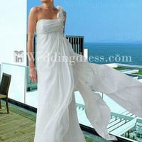 Simple Elegant One-Shoulder Chiffon Wedding Dress