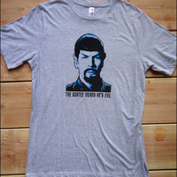 The Goatee Means He's Evil Spock Men's  Heathered Gray Tshirt