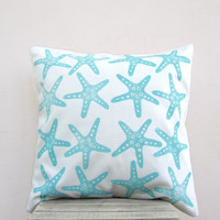 Aqua pillow: starfish in aqua turquoise on white organic cotton throw pillow, nautical pillow cushion cover, beach cottage decor