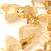 Golden Citrine Gemstone Chunks and Swarovski Crystals Necklace | GracefulArts - Jewelry on ArtFire