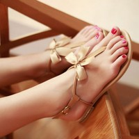 [5723-Size 36] Khaki Color Bow Pattern Sandals