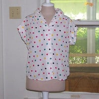 Vintage 1980's Multi-Colored Polka Dot Button Down Short Sleeve Shirt