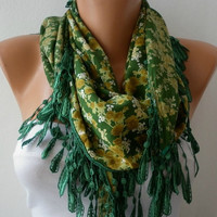 St. Patrick's Day Women Pashmina Scarf - Cotton Scarf - - Cowl with Lace Edge - Multicolor