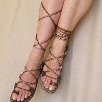 Lace Up Flat Sandals Glory by Calpas on Etsy