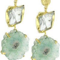 "Zariin ""Duo Stone Spirited"" Green Druzies Gold Earrings"