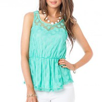 Dotted Lace Peplum Tank in Mint - ShopSosie.com