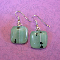 Mineral Green Earrings, Drop Earrings, Fused Glass Earring, Earring Jewelry, Green Jewelry  - Lyda - 1845 -3