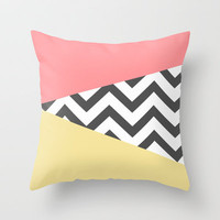 Color Blocked Chevron 2 Throw Pillow by Josrick